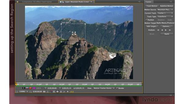 Tracking the mountain: After Effects Apprentice 12: Tracking and Keying