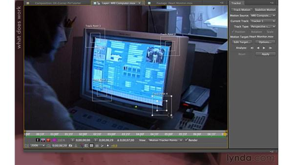 Tracking to a corner pin: After Effects Apprentice 12: Tracking and Keying