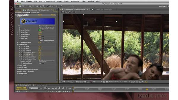 Refining the key: After Effects Apprentice 12: Tracking and Keying