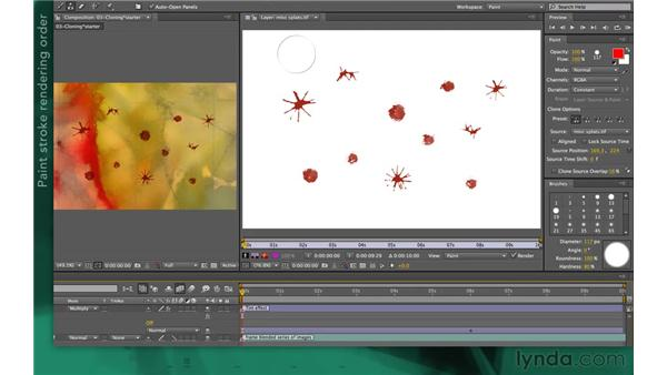 Editing and animating clone strokes: After Effects Apprentice 13: Paint, Roto, and Puppet