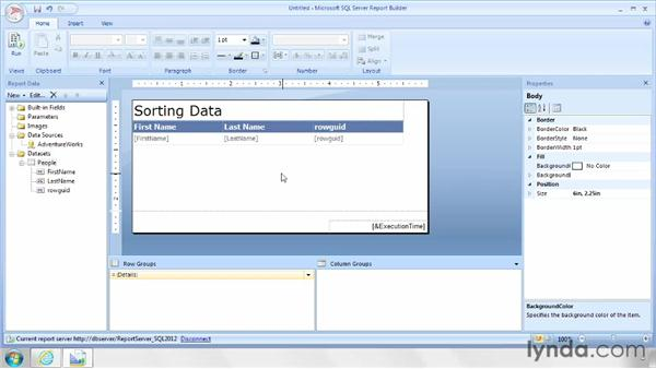 Applying interactive sorting: SQL Server Reporting Services in Depth