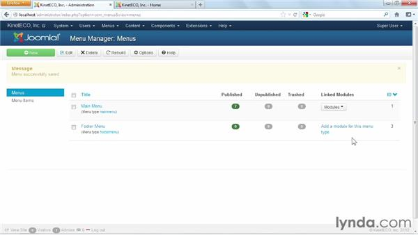 Creating a new menu and a login link, and displaying the menu in the footer: Joomla! 3 Essential Training