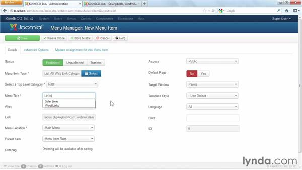 Using the weblinks component: Joomla! 3 Essential Training