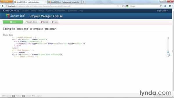 Adjusting template masters with the HTML and CSS editors: Joomla! 3 Essential Training
