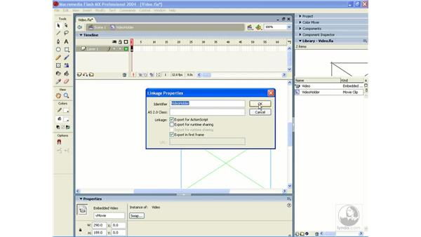 attaching video to the stage: ActionScript 2.0 Essential Training