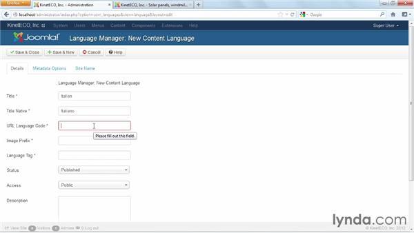 Creating the Italian content language: Joomla! 3 Essential Training