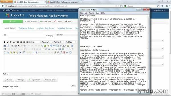 Creating Italian language articles and adjusting English articles: Joomla! 3 Essential Training