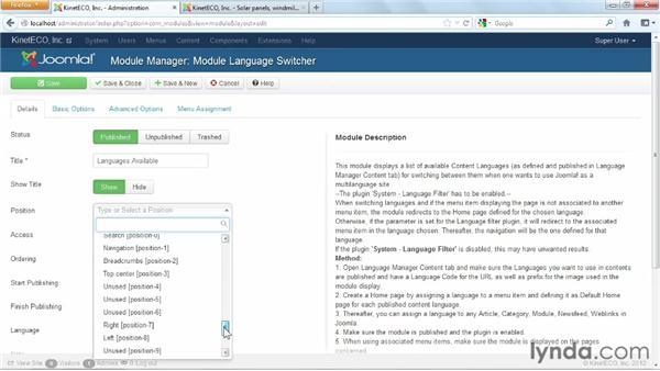 Creating the language switcher module: Joomla! 3 Essential Training