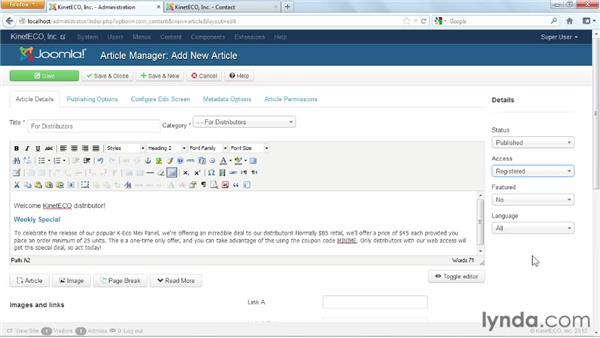 Configuring content for users behind a login: Joomla! 3 Essential Training