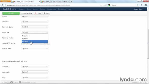 Extending user profiles: Joomla! 3 Essential Training