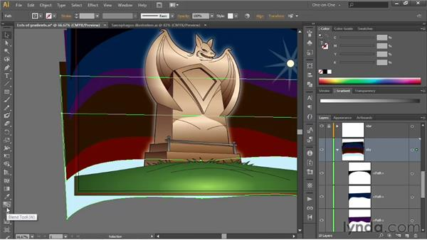 Creating a multicolor blend: Illustrator CS6 One-on-One: Advanced