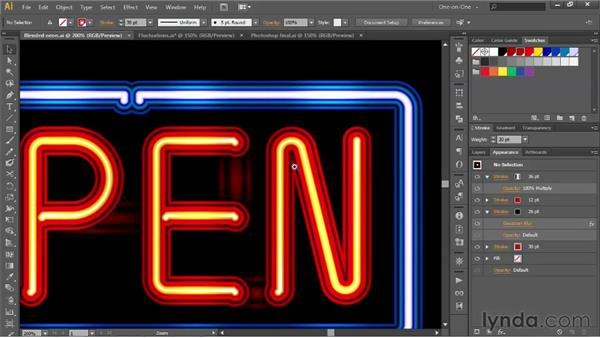 """Creating neon """"block outs"""" between letters: Illustrator CS6 One-on-One: Advanced"""