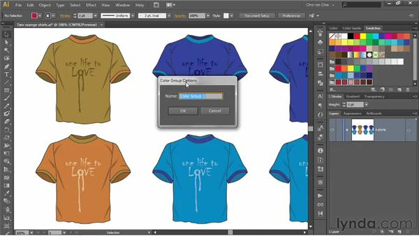 Recoloring with the help of swatch groups: Illustrator CS6 One-on-One: Advanced