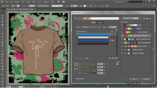 Applying tints and shades of a single swatch: Illustrator CS6 One-on-One: Advanced