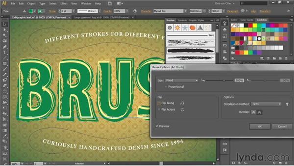 Applying and scaling an art brush: Illustrator CS6 One-on-One: Advanced