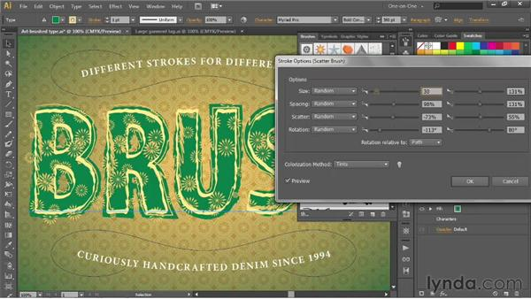 Applying and editing a scatter brush: Illustrator CS6 One-on-One: Advanced
