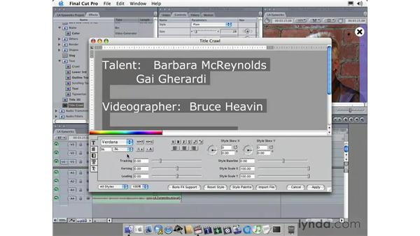 adding text: Learning Final Cut Pro 4