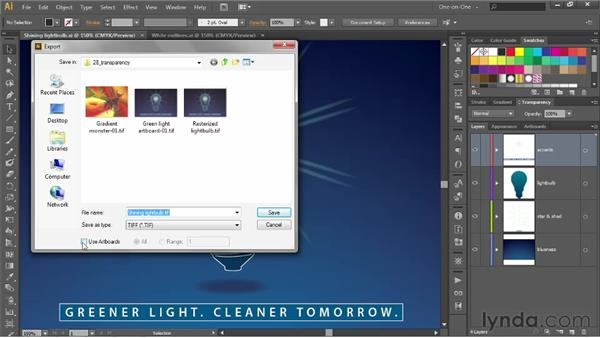 Exporting transparency from Illustrator: Illustrator CS6 One-on-One: Advanced
