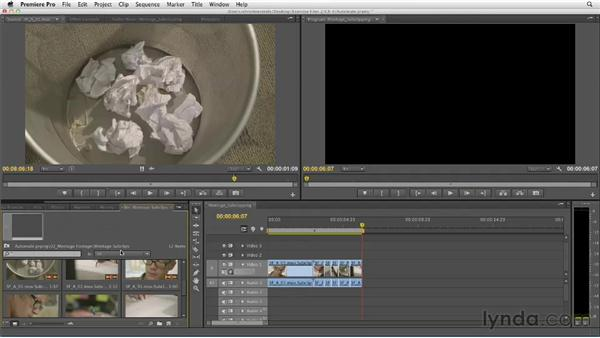 Building a quick montage rough cut using the Automate to Sequence tool: Narrative Scene Editing with Premiere Pro