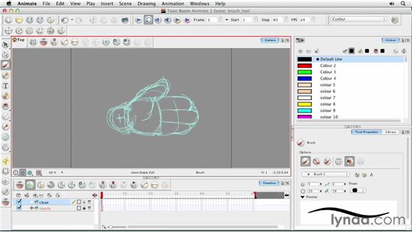 Exploring pen pressure and the Brush tool: Animating Characters in Toon Boom Animate