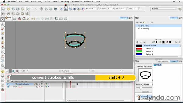 Creating mouth shapes E and F: Animating Characters in Toon Boom Animate
