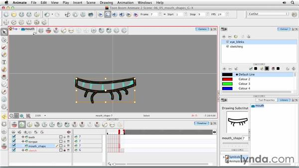 Creating mouth shapes G and X: Animating Characters in Toon Boom Animate