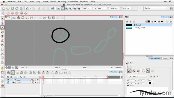 Creating a side-view head: Animating Characters in Toon Boom Animate