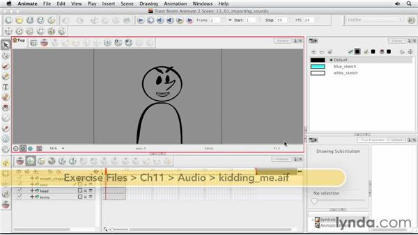 Importing sounds: Animating Characters in Toon Boom Animate