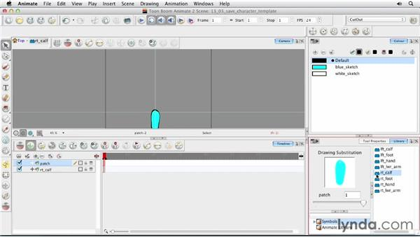 Saving your character as a template: Animating Characters in Toon Boom Animate