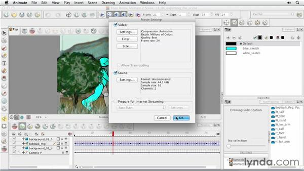 Exporting the scene: Animating Characters in Toon Boom Animate