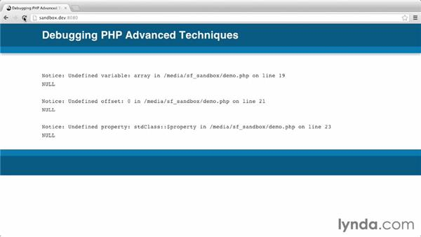 Triggering and repairing PHP errors: Debugging PHP: Advanced Techniques