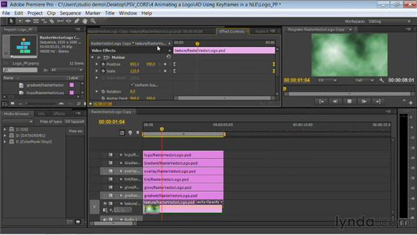 Animating a logo with keyframes in an NLE: Photoshop for Video Editors: Core Skills