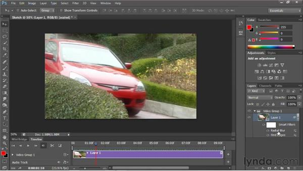 Using Photoshop filters on a video clip: Photoshop for Video Editors: Core Skills