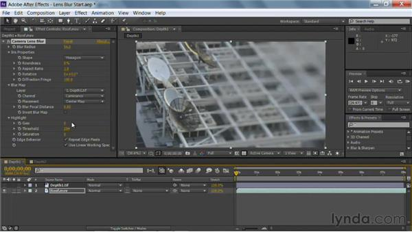 The Lens Blur effect in After Effects: Photoshop for Video Editors: Core Skills