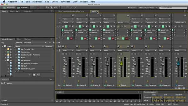 Initial setup and views: Mixing a Short Film with Audition