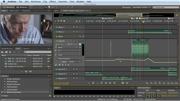 Automating volume: Mixing a Short Film with Audition