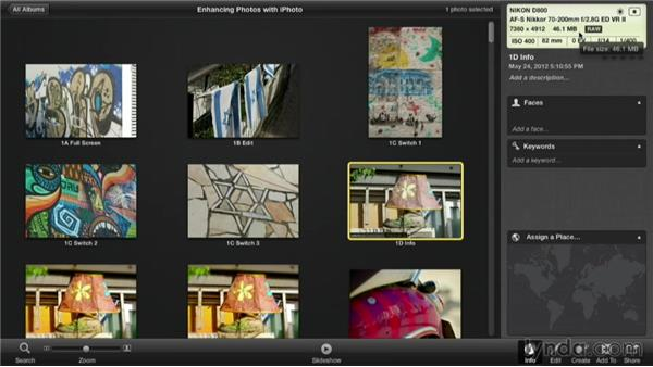 Checking the info on an image: Enhancing Photos with iPhoto