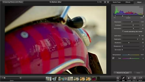 Seeing the before and after state: Enhancing Photos with iPhoto