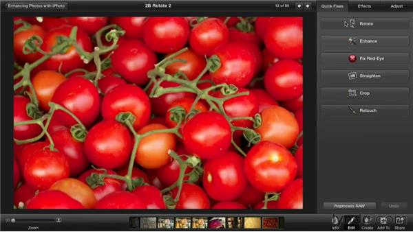 Rotating an image: Enhancing Photos with iPhoto