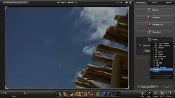 Cropping multiple sizes: Enhancing Photos with iPhoto