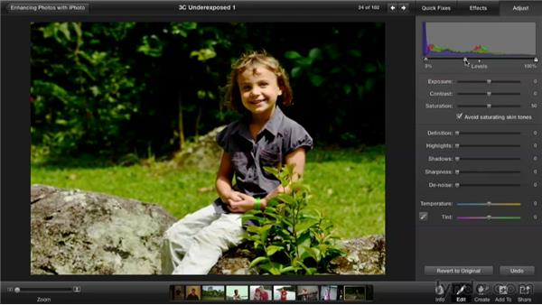 Fixing an underexposed photo: Enhancing Photos with iPhoto