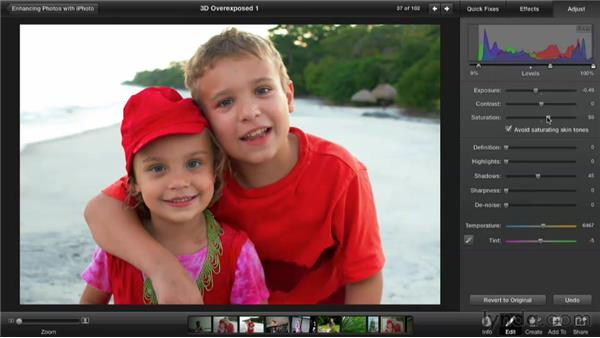 Fixing an overexposed photo: Enhancing Photos with iPhoto