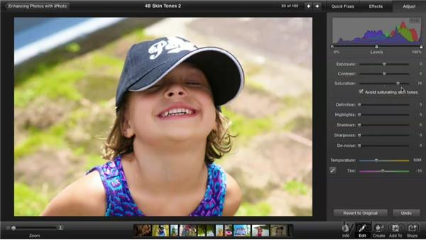 Increasing saturation while protecting skin tones: Enhancing Photos with iPhoto
