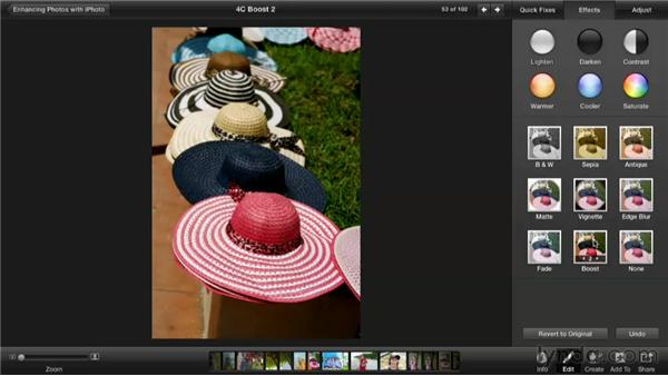 Boosting an image to quickly fix saturation: Enhancing Photos with iPhoto