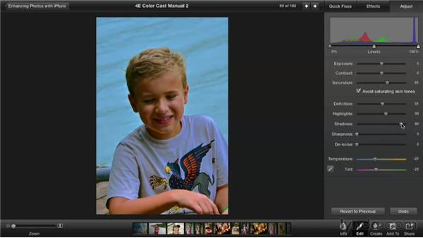 Removing a color cast manually: Enhancing Photos with iPhoto