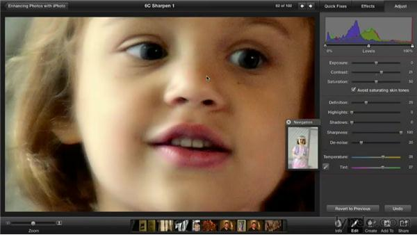 Sharpening a soft photo: Enhancing Photos with iPhoto