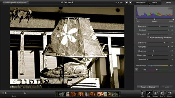 Defocusing a photo: Enhancing Photos with iPhoto