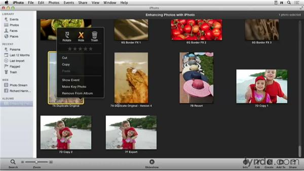 Deleting an image: Enhancing Photos with iPhoto
