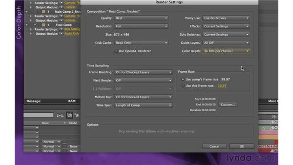 Exploring render settings: After Effects Apprentice 15: Creating a Sports Opening Title