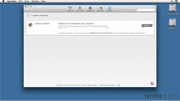 Staying current with Software Update: Mac OS X Mountain Lion Essential Training